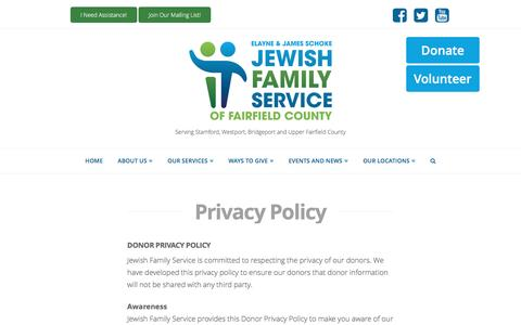 Screenshot of Privacy Page ctjfs.org - Privacy Policy | Jewish Family Service - captured Nov. 27, 2016