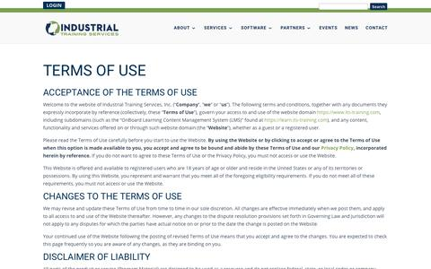 Screenshot of Terms Page its-training.com - Terms of Use | Industrial Training Services - captured May 12, 2018