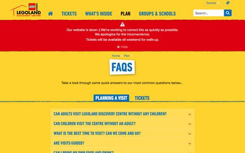 Screenshot of FAQ Page legolanddiscoverycentre.ca - FAQs | LEGOLAND® Discovery Centre Toronto - captured Nov. 18, 2017