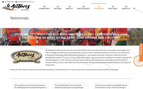 Screenshot of Testimonials Page alltrails.com.au - Bicycle Tours Australia testimonials - captured May 20, 2016