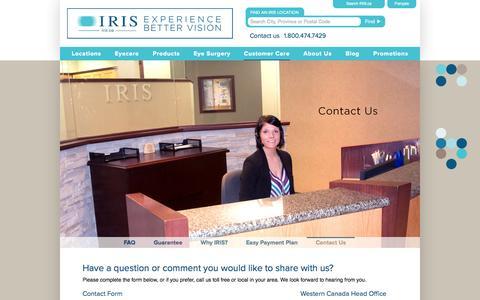 Screenshot of Contact Page iris.ca - Contact IRIS | EyeCare & Eyewear | Optometrists & Opticians - captured Sept. 19, 2014