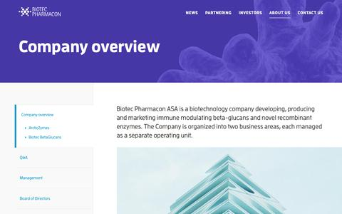Screenshot of About Page biotec.no - Company overview — Biotec Pharmacon - captured Oct. 5, 2018