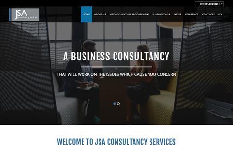 Screenshot of Home Page jsacs.com - Office Furniture Design, Sales & Marketing Consultants - John Sacks Consultant of JSA Consultancy Services - captured Oct. 13, 2018