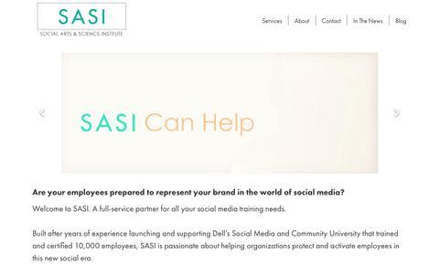 Screenshot of Home Page getsasi.com - SASI - Social Arts & Science Institute - captured Oct. 1, 2018
