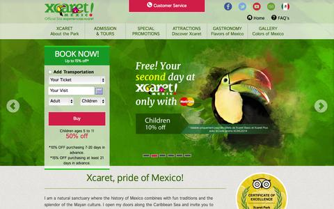 Screenshot of Home Page xcaret.com - Xcaret Park Cancun México - captured Sept. 19, 2014