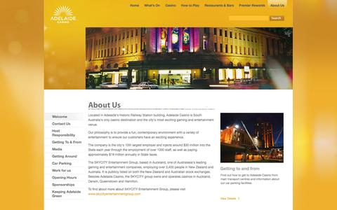 Screenshot of About Page adelaidecasino.com.au - About Us - Adelaide Casino - SKYCITY - Adelaide - captured Oct. 3, 2014