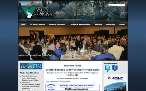 Screenshot of Home Page spokanevalleychamber.org - Welcome to the Spokane Valley Chamber of Commerce - captured Oct. 8, 2014