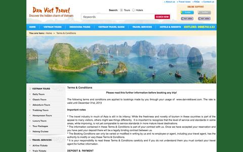 Screenshot of Terms Page danviettravel.com - Terms And Conditions - captured Sept. 30, 2014