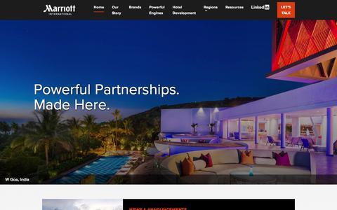 Screenshot of Developers Page marriott.com - Marriott International Hotel Development - captured Sept. 11, 2019