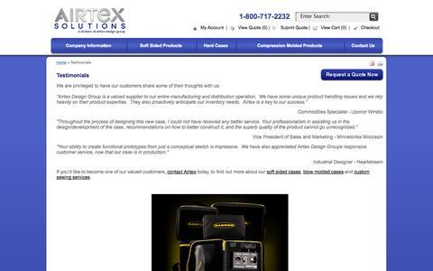 Screenshot of Testimonials Page airtexsolutions.com captured Sept. 30, 2014