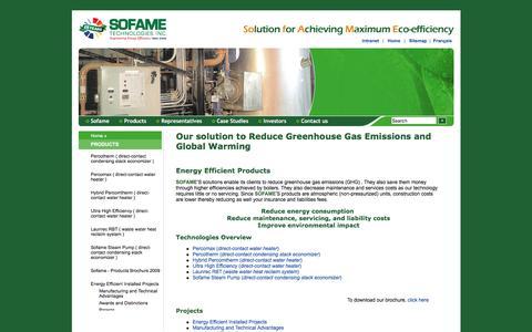 Screenshot of Products Page sofame.com - Sofame Technologies - Products, technologies and projects - captured Nov. 30, 2016