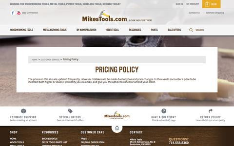 Screenshot of Pricing Page mikestools.com - Pricing Policy - Mike's Tools - captured Dec. 15, 2016