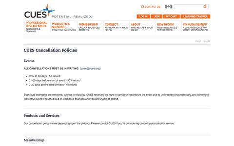 CUES Cancellation Policies | CUES