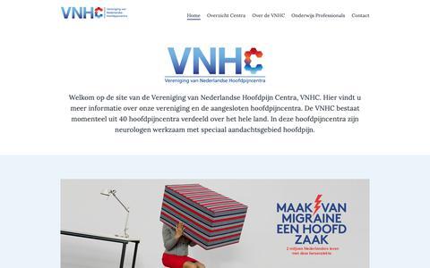 Screenshot of Home Page hoofdpijncentra.nl - Vereniging van Nederlandse Hoofdpijncentra - captured Oct. 28, 2018