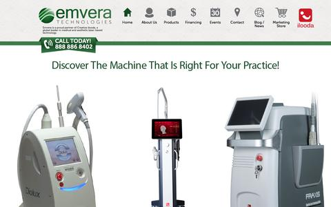 Screenshot of Products Page emvera.com - Emvera Technologies Aesthetic & Medical Devices - captured Oct. 22, 2017
