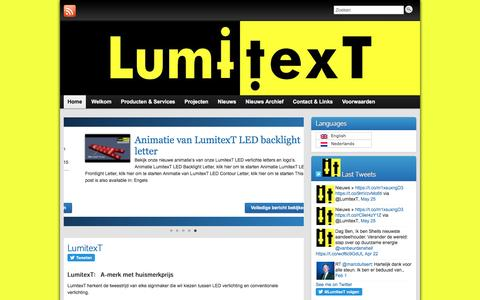 Screenshot of Home Page lumitext.com - LumitexT.com » LED oplossingen voor de lichtreclame markt. - captured July 5, 2016