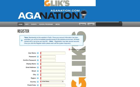 Screenshot of Signup Page aganation.com - AGA Nation - Action Sports Agency - captured Oct. 4, 2014