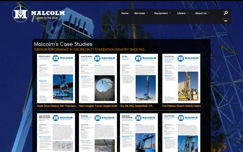 Screenshot of Case Studies Page malcolmdrilling.com - Malcolm Drilling Company Case Studies - captured Sept. 30, 2014
