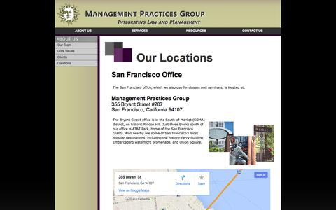 Screenshot of Locations Page managementpractices.com - International Office Locations -- Management Practices Group - captured Oct. 4, 2014