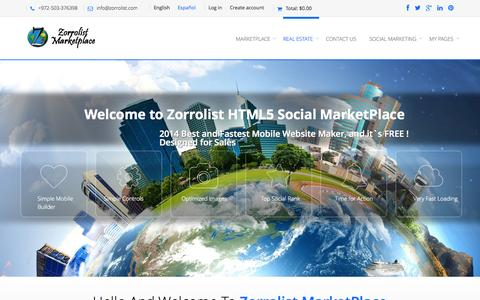 Screenshot of Home Page About Page zorrolist.com - Zorrolist Marketplace - HTML5 mobile website builder - captured Oct. 6, 2014