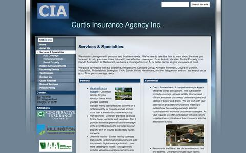 Screenshot of Services Page curtisinsuranceagency.net - Services & Specialties - Curtis Insurance Agency - captured Oct. 3, 2014