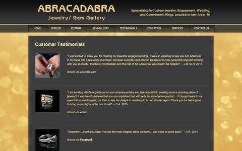 Screenshot of Testimonials Page abragem.com - Abracadabra Jewelry/Gem Gallery - Customer Testimonials - captured Feb. 5, 2016
