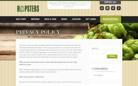 Screenshot of Privacy Page hopsters.net - Privacy Policy - Hopsters - captured Oct. 28, 2014