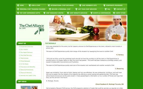 Screenshot of Testimonials Page thechefalliance.com - Chef Alliance - captured Oct. 26, 2014