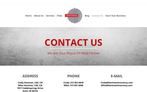 Screenshot of Contact Page hartmaninventory.com - Contact Us | Hartman Inventory, LLC - captured July 19, 2017