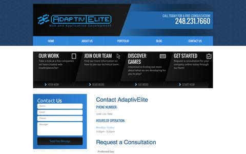 Screenshot of Contact Page adaptivelite.com - Contact Us | Nationwide Web Development - captured Oct. 8, 2014