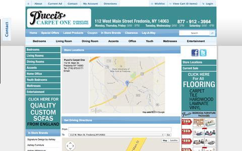 Screenshot of Maps & Directions Page gotopuccis.com - Pucci's Carpet One - Fredonia, NY Directions - captured Oct. 3, 2014