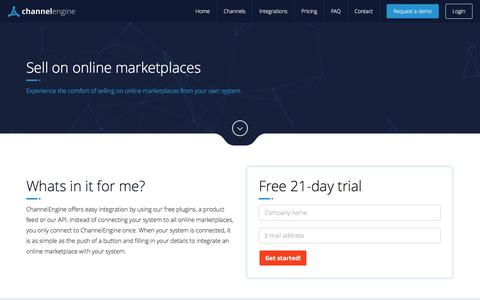 Screenshot of Trial Page channelengine.com - Sell on online marketplaces - Marketplace E-Commerce Integration - captured Nov. 4, 2016