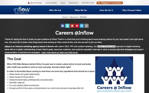 Screenshot of Jobs Page goinflow.com - Join the Inflow Team and Amplify Your Career! GoInflow.com - captured Oct. 2, 2015