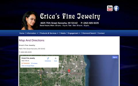 Screenshot of Maps & Directions Page ericasfinejewelry.com - Erica's Fine Jewelery - Map & Directions - captured Oct. 2, 2014