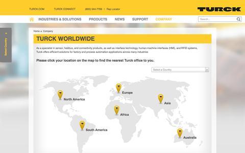 Screenshot of Locations Page turck.us - Turck Worldwide - Turck USA - captured Dec. 18, 2016