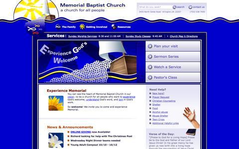 Screenshot of Home Page memorialbaptistchurch.org - Memorial Baptist Church - a church for all people - captured Oct. 4, 2014