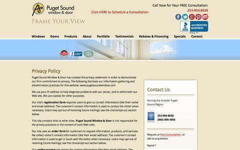 Screenshot of Privacy Page pugetsoundwindow.com - Privacy Policy - Puget Sound Window & Door - captured Nov. 13, 2016