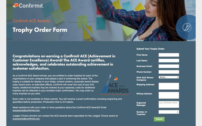 Confirmit ACE Awards - Trophy Order Form