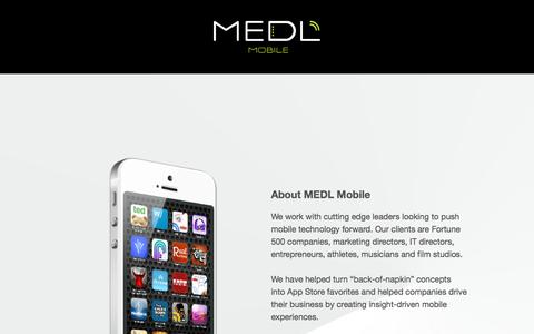 Screenshot of Contact Page medlmobile.com - MEDL Mobile iOS, Android Custom App and Game Development - captured July 29, 2016