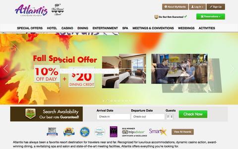 Screenshot of Home Page atlantiscasino.com - Atlantis Casino Resort Spa Reno - Hotels, Dining, Spa, Entertainment - captured Oct. 1, 2015
