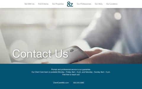 Screenshot of Contact Page 8z.com - Contact Us for real estate help - 8z Real Estate - captured Feb. 13, 2019