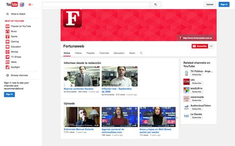 Screenshot of YouTube Page youtube.com - Fortunaweb  - YouTube - captured Nov. 4, 2014