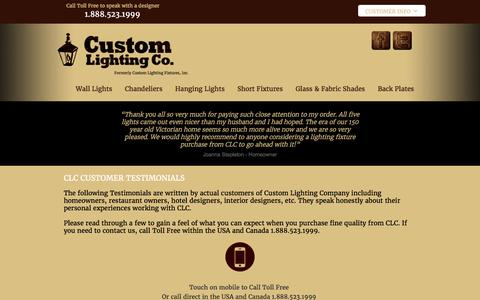Screenshot of Testimonials Page customlightingfixtures.com - Custom Lighting Company - Testimonials - captured Nov. 14, 2016