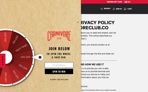 Screenshot of Privacy Page carnivoreclub.co - Privacy Policy | Carnivore Club - captured July 16, 2018