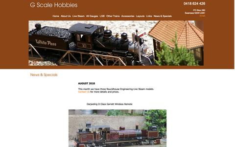 Screenshot of Press Page gscalehobbies.com.au - News & Specials G Scale Hobbies & Garden Railways - captured Oct. 22, 2018