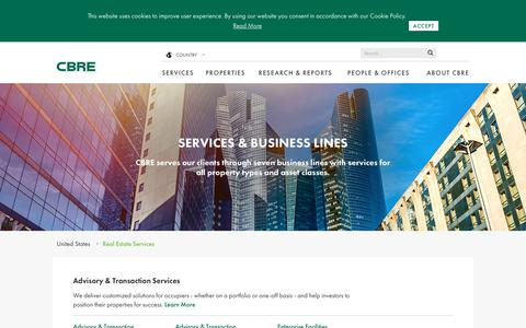 Screenshot of Services Page cbre.us - Real-Estate-Services | CBRE - captured July 7, 2017
