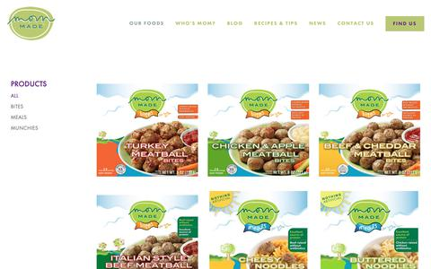Screenshot of Products Page mommadefoods.com - Mom Made Foods - Products - captured Nov. 4, 2018