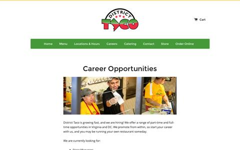 Screenshot of Jobs Page districttaco.com - Career Opportunities – District Taco - captured Jan. 7, 2016