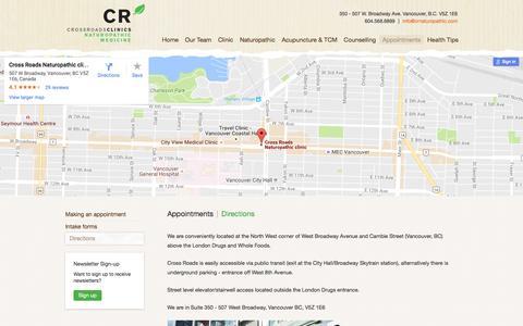 Screenshot of Maps & Directions Page crossroadsnaturopathic.com - Crossroad Naturopathic - captured Nov. 14, 2016