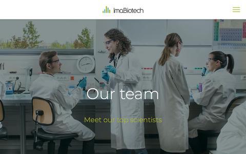 Screenshot of Team Page imabiotech.com - Our team – Imabiotech - captured Nov. 6, 2018